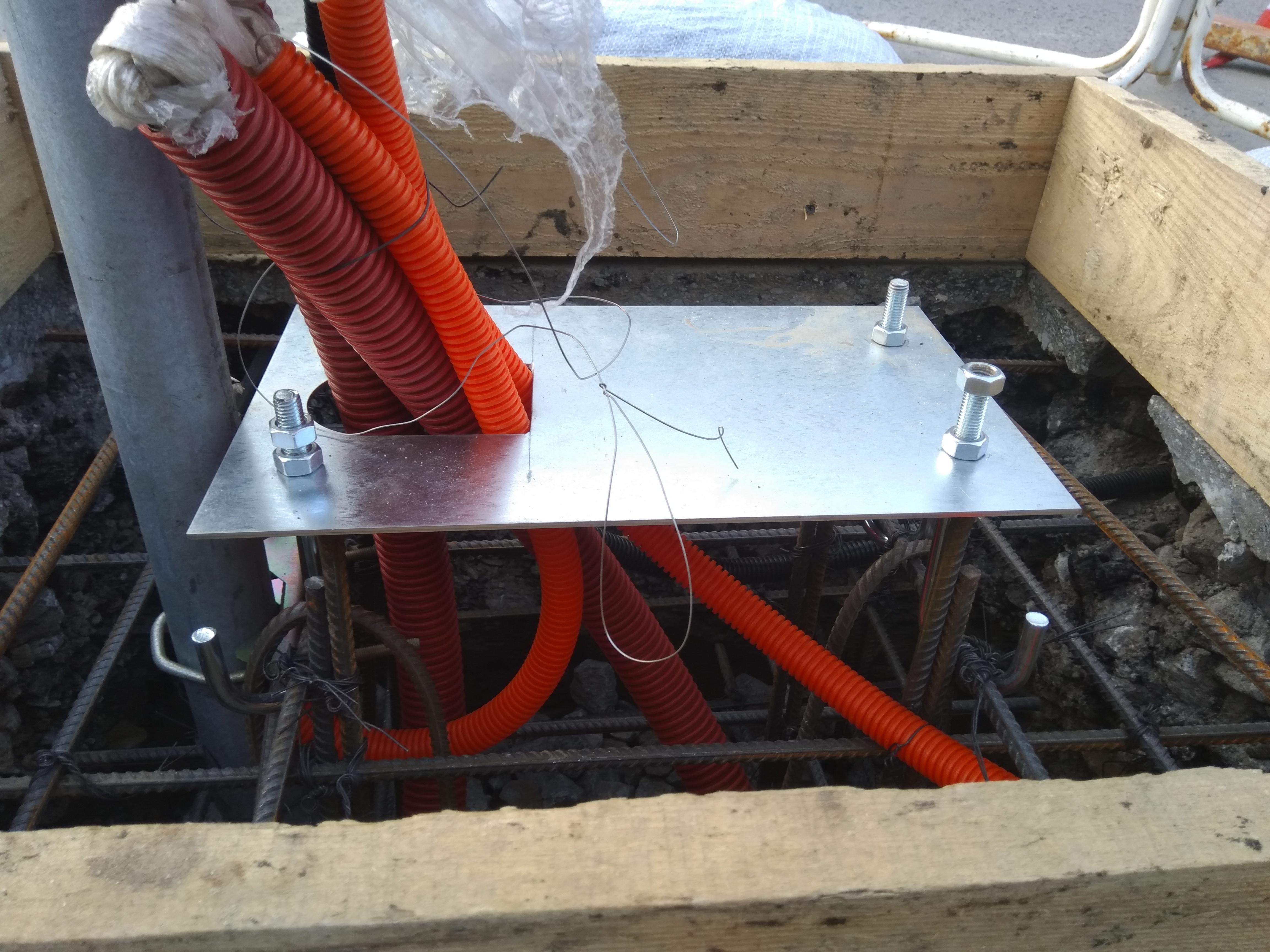 подготовка бетонного основания для шлагбаума